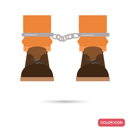 Feet prisoner in chains color flat icon for web and mobile design Illustration