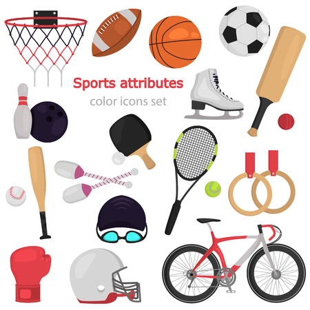 Sports equipment color flat icons set for web and mobile design