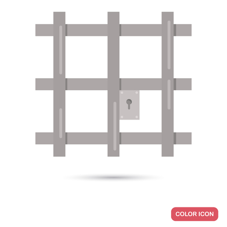 Prison cell grate color flat icon for web and mobile design