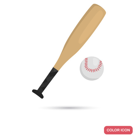 Baseball bat and ball color flat icon for web and mobile design Çizim