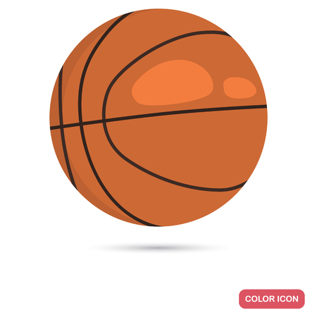 Basketball ball color flat icon for web and mobile design