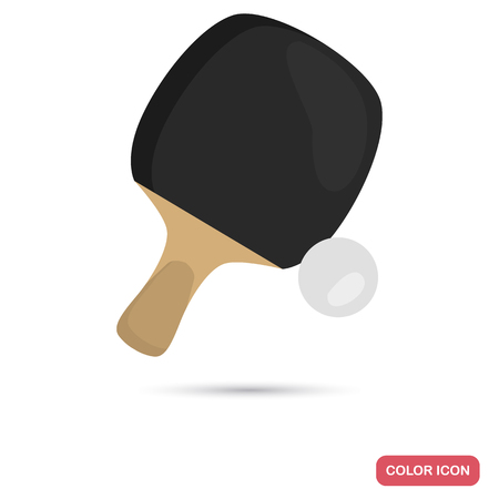 Table tennis and ball color flat icon for web and mobile design