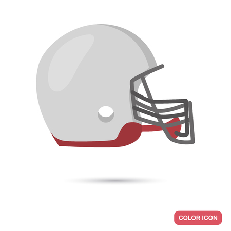 Regby helmet color flat icon for web and mobile design Illustration