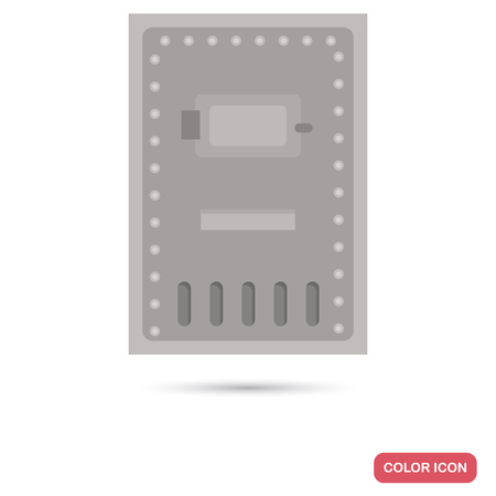 Steel door of a prison insulator color flat icon for web and mobile design