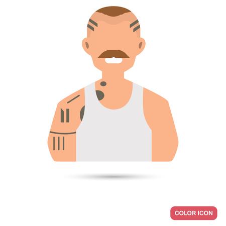 Prisoner men color flat icon for web and mobile design Çizim
