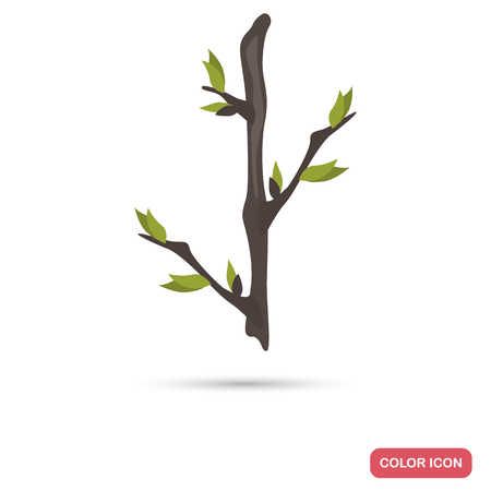 Leaflet on a branch color flat icon for web and mobile design
