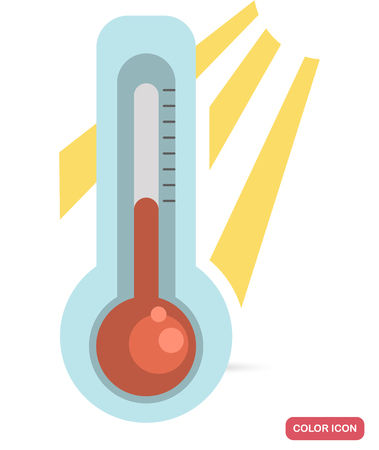 Spring warming on a thermometer color flat icon for web and mobile design Vettoriali
