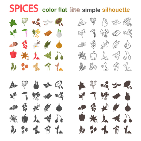 Big spices line, simple, silhouette and color flat icons for web and mobile design Ilustração
