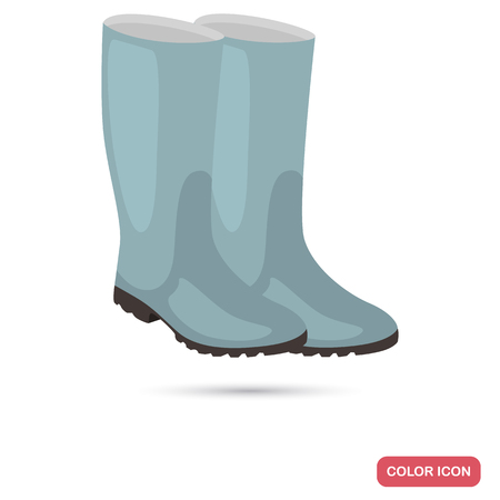 Rubber boots color flat icon for web and mobile design Vettoriali