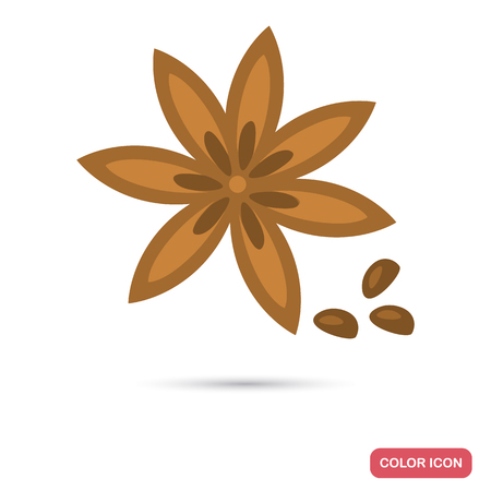 Anise star color flat icon for web and mobile design Vettoriali