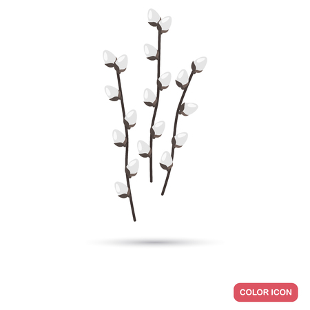 Catkins on willow branch color flat icon for web adn mobile design