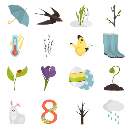 Spring time color flat icons set for web and mobile design