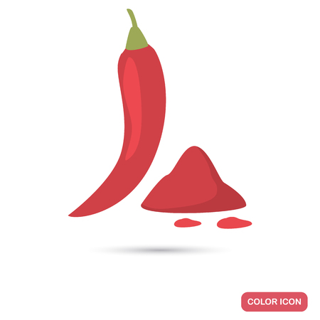 Red chili pepper color flat icon for web and mobile design
