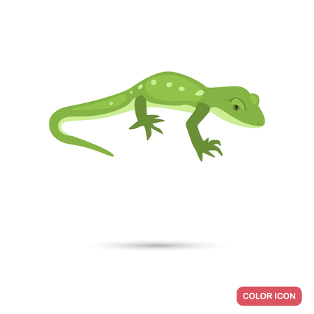 Green gecko color flat icon for web and mobile design Stock fotó - 124392003