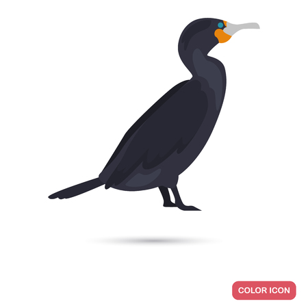 Cormorant color flat icon for web and mobile design 일러스트