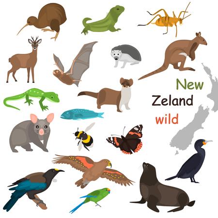 New Zeland wild animals color flat icons set for web and mobile design Illustration