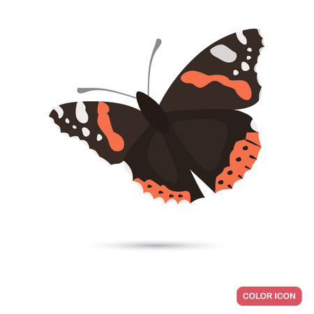Admiral butterfly color flat icon for web and mobile design Illustration