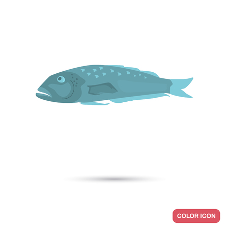 Blue cod fish color flat icon for web and mobile design Иллюстрация