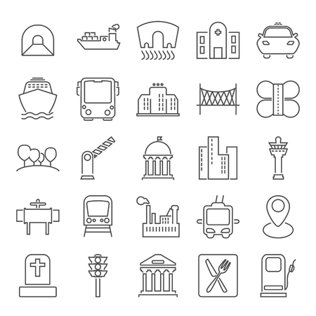 City infrastructure line icons set for web and mobile design