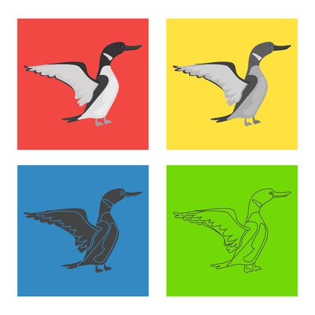 Loon color flat, line, simple, black and white concept icons set