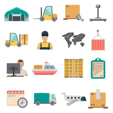 Zestaw ikon płaskich kolorów logistyki i dostawy