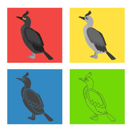 Crested cormorant color flat, line, simple, black and white concept icons set