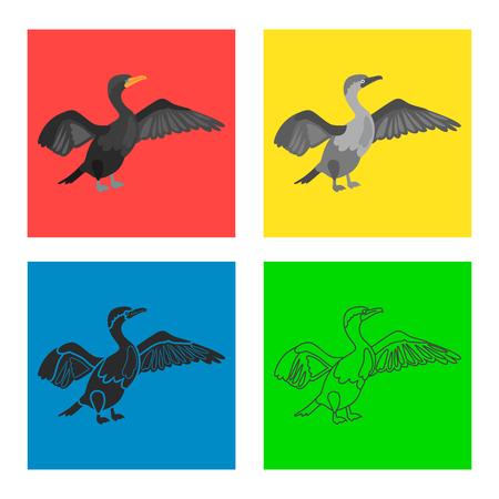 Cormorant color flat, line, simple, black white concept icons set Illustration