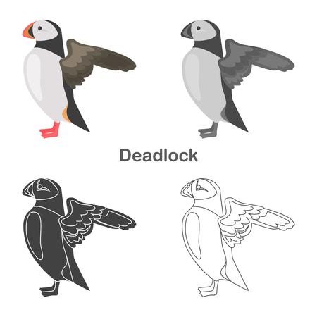 Deadlock color flat, line, simple, black and white concept icons set