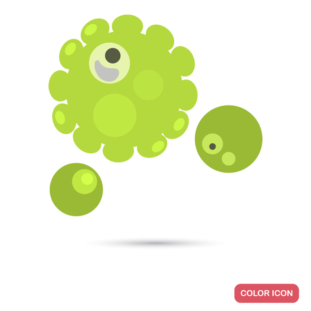Virus cells under magnification flat color iconVirus cell under magnification flat color icon