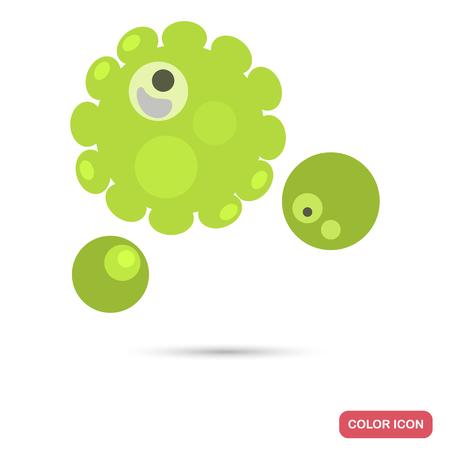Virus cells under magnification flat color iconVirus cell under magnification flat color icon Stock Vector - 121591704