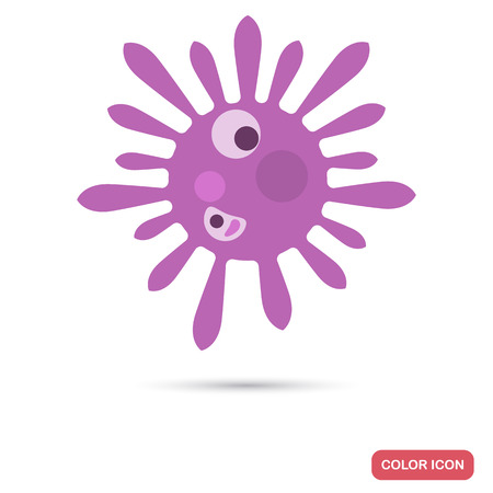 Virus cell under magnification flat color icon