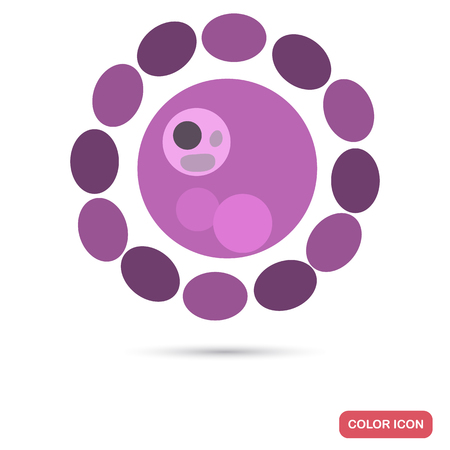 Virus cell under magnification flat color iconVirus cell under magnification flat color icon
