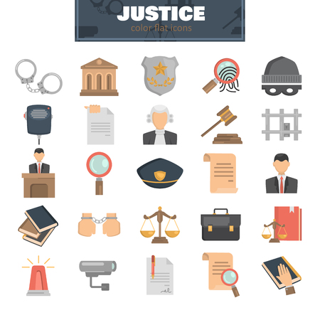 Justice and law color flat icons set for web and mobile design