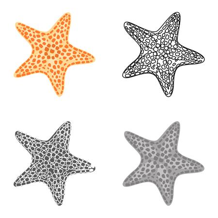 Sea Star Farbe flach, Linie, einfache und monochrome Symbole gesetzt. Vektorkonzept Vektorgrafik