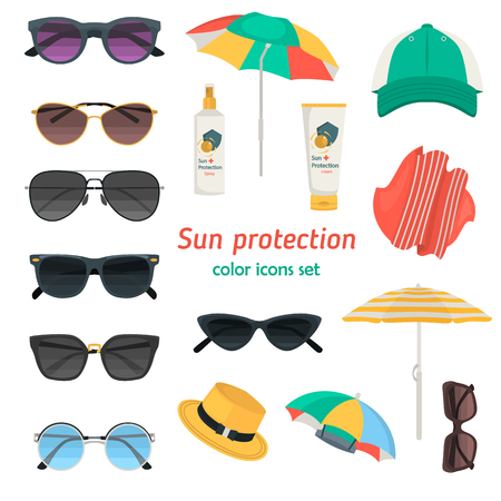 Sun protection ways color flat icons set for web and mobile design Archivio Fotografico - 128781246