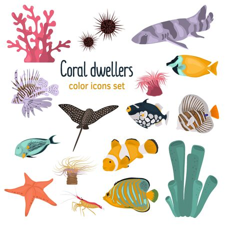 Animal coral reefs color flat icons set for web and mobile design