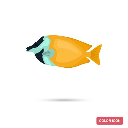 Fox fish color flat icon for web and mobile design