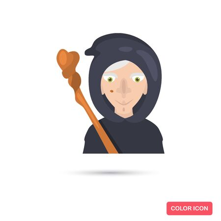 Witch with a stick from a fairy tale color flat icon for web and mobile design Çizim