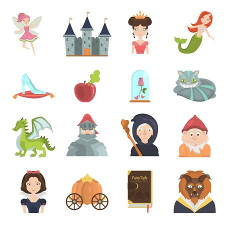 Fairy tales color flat icons set for web and mobile design 向量圖像