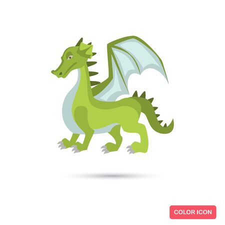 Fairy tale green dragon color flat icon for web and mobile design