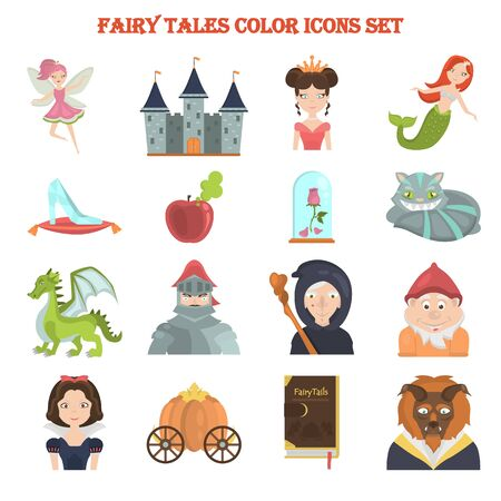fairy tales color icon set