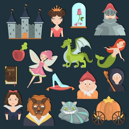 Fairy tales color flat icons set for web and mobile design Vectores