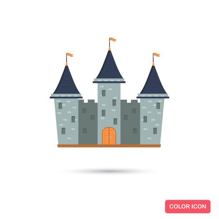 Fairy tale castle color flat icon for web and mobile design Çizim
