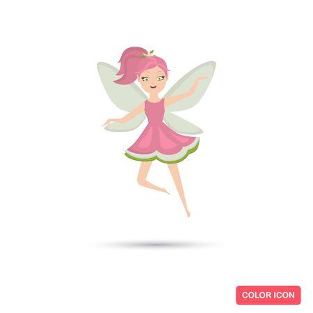 Pink fairy from tales color flat icon for web and mobile design