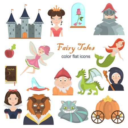 Fairy tales color flat icons set for web and mobile design Çizim