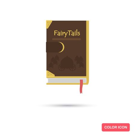 Book with fairy tales color flat icon for web and mobile design Çizim