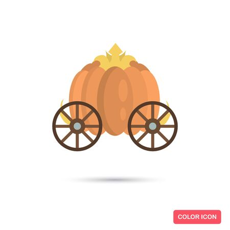 Enchanted carriage Cinderella pumpkin color flat icon for web and mobile design