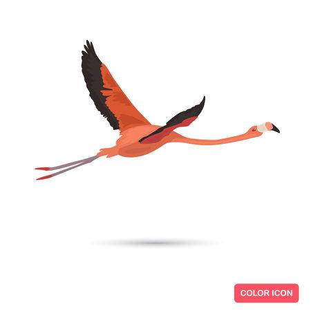 Flamingo bird color flat icon