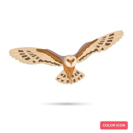 Owl bird color flat icon Ilustracja
