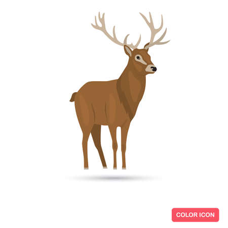 Deer animal color flat icon Ilustracja